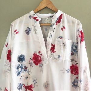 Plus Size Semi-Sheer Long Sleeve Floral Like New